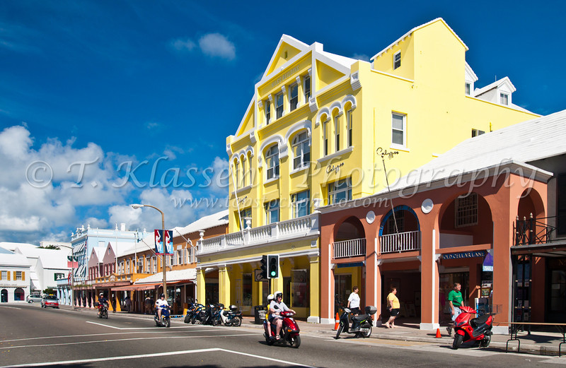 Front street in Hamilton, Bermuda in the British Overseas Territory.