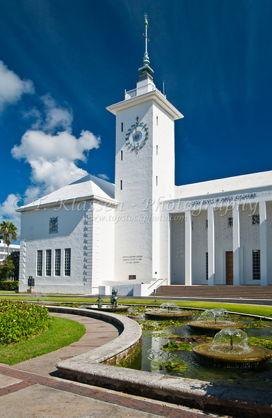 The City Hall and Arts Center in Hamilton, Bermuda in the British Overseas Territory.