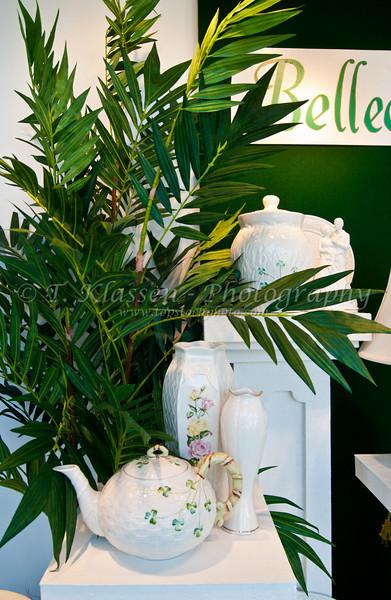 Fine china dishes displayed in a shop window in Hamilton, Bermuda, British Overseas Territory.