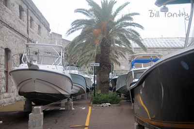 Sept., 2010.  Igor preparations, boats in the streets of Dockyard