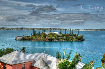 View of 5 Star Island from the Railway Trail, Southampton, Bermuda