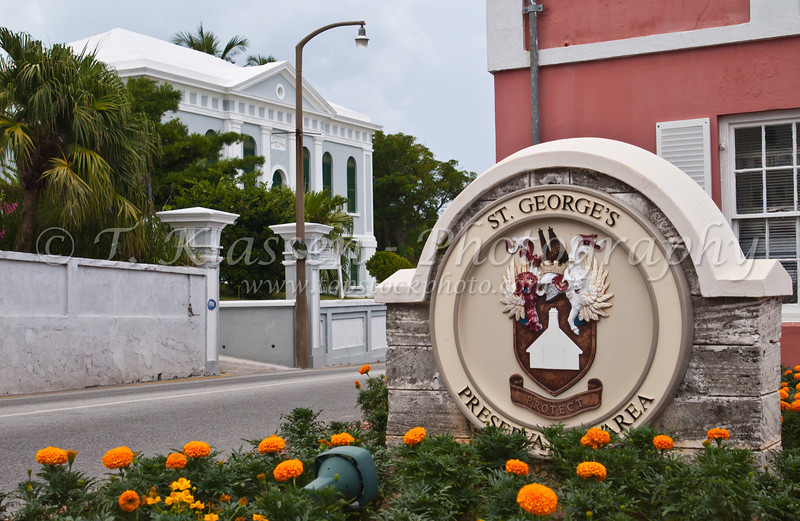 Preservation area sign to the town of St. George's Bermuda.