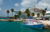 A cruise ship docked at the port  town of St. George's Bermuda.