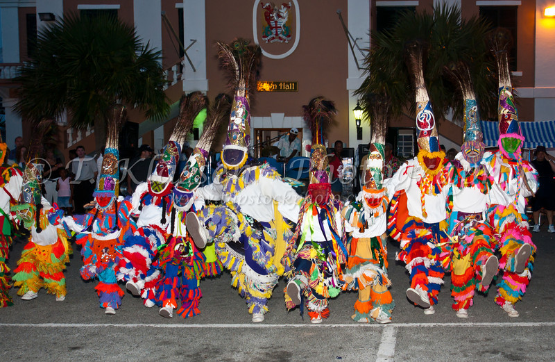 A lively street festival with costumes and dance in St. George's, Bermuda, British Overseas Territory.