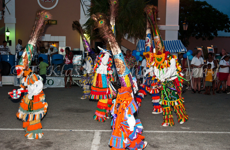 A lively street festival with costumes and dance in St. George's, Bermuda.