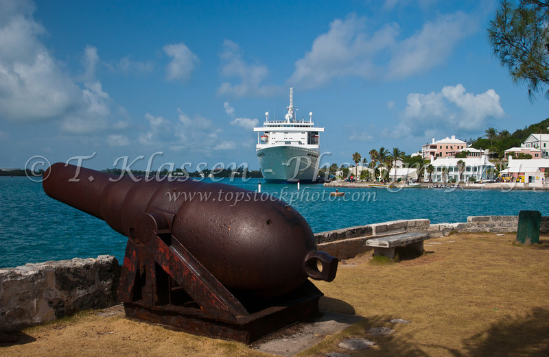 A canon gun at the port town of St. George's Bermuda, British Overseas Territory.