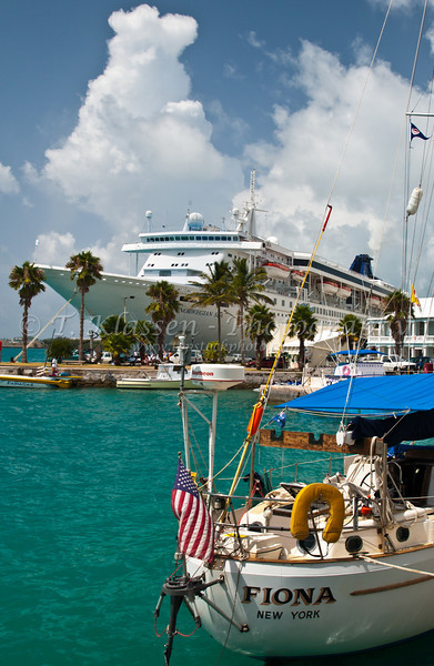 A cruise ship docked at the port  town of St. George's Bermuda, British Overseas Territory.