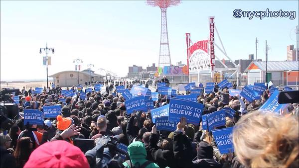 Bernie Sanders Gives Free Speech On Coney Island Board Walk