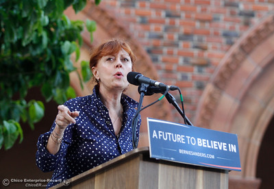 Susan Sarandon warms up the crowd before Bernie Sanders takes the stage during the Chico Bernie Rally June 2, 2016 at Chico State in Chico, Calif. (Emily Bertolino -- Enterprise-Record)