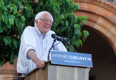 Bernie Sanders addresses the excited Chico crowd during the Chico Bernie Rally June 2, 2016 at Chico State in Chico, Calif. (Emily Bertolino -- Enterprise-Record)