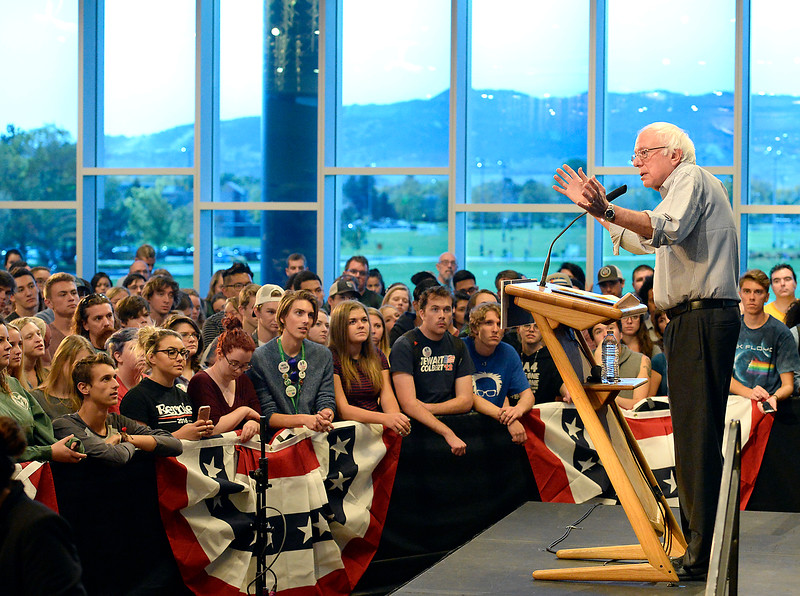 Bernie Sanders speaks to a crowd of people while stumping for Hillary Clinton Monday, Oct. 17, 2016, about the presidential election in the Lory Student Center at Colorado State University in Fort Collins. (Photo by Jenny Sparks/Loveland Reporter-Herald)
