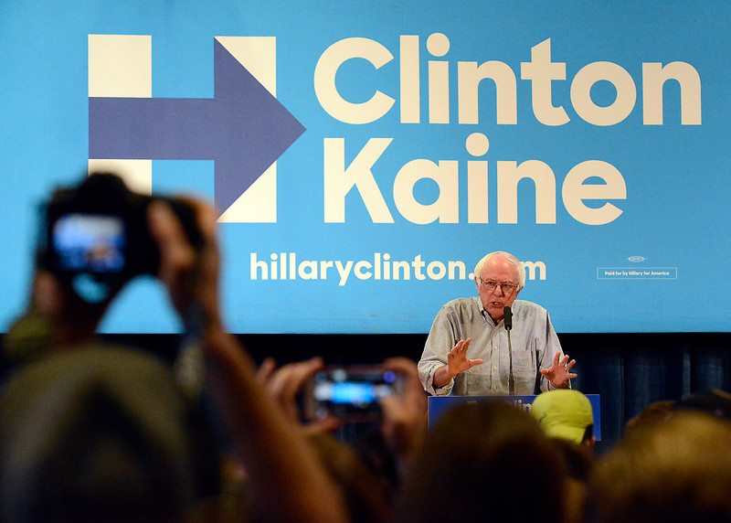 Bernie Sanders speaks to a crowd of people while stumping for Hillary Clinton Monday, Oct. 17, 2016, in the Lory Student Center at Colorado State University in Fort Collins. (Photo by Jenny Sparks/Loveland Reporter-Herald)