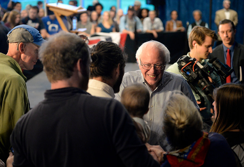 Bernie Sanders shakes hands with supporters after speaking to a crowd of people Monday, Oct. 17, 2016, in the Lory Student Center at Colorado State University in Fort Collins. (Photo by Jenny Sparks/Loveland Reporter-Herald)