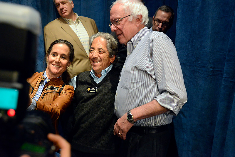 Bernie Sanders poses for a selfie with state Sen. John Kefalas, center, and state Rep. Jeni Arndt after speaking and stumping for Hillary Clinton Monday, Oct. 17, 2016, in the Lory Student Center at Colorado State University in Fort Collins. (Photo by Jenny Sparks/Loveland Reporter-Herald)