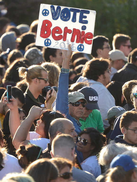 . Bernie Sanders fans before he speaks at Colton Hall in Monterey, Calif. on Tuesday May 31, 2016. (David Royal - Monterey Herald)