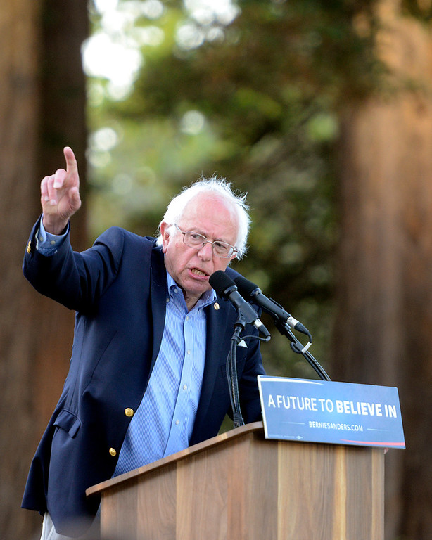 . Bernie Sanders speaks at Colton Hall in Monterey, Calif. on Tuesday May 31, 2016. (David Royal - Monterey Herald)