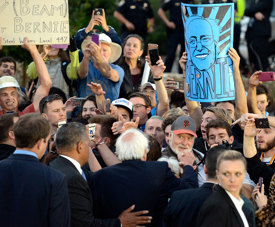 . Bernie Sanders greets supporters after speaking at Colton Hall in Monterey, Calif. on Tuesday May 31, 2016. (David Royal - Monterey Herald)