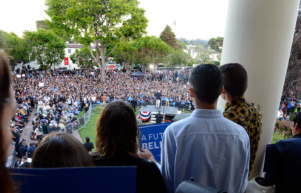 . Supporters watch from the top of Colton Hall as Bernie Sanders speaks in Monterey, Calif. on Tuesday May 31, 2016. (David Royal - Monterey Herald)