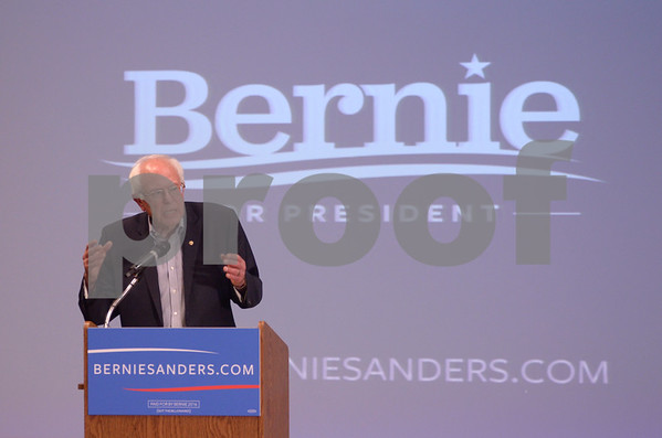 -Messenger photo by Jesse Major<br /> Presidential hopeful Sen. Bernie Sanders, I-Vermont, told supporters in Fort Dodge Thursday that the United States needs to support education and healthcare instead of sending its youth to prison.