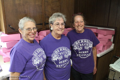 The trio that baked the pies on sale Saturday at the 20th annual Berry Festival at the Berry Creek Grange. From the left, Bonnie Vincent, Lola Adamczak and Rita Porter. (Steve Schoonover -- Enterprise-Record)
