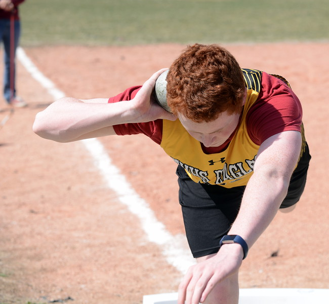 Thompson Valley's Ethan Baldwin steadies himself in the circle during the shot put competition at Thursday's NoCo meet at Marr Field iin Berthoud. (Mike Brohard/Lovelnad Reporter-Herald)