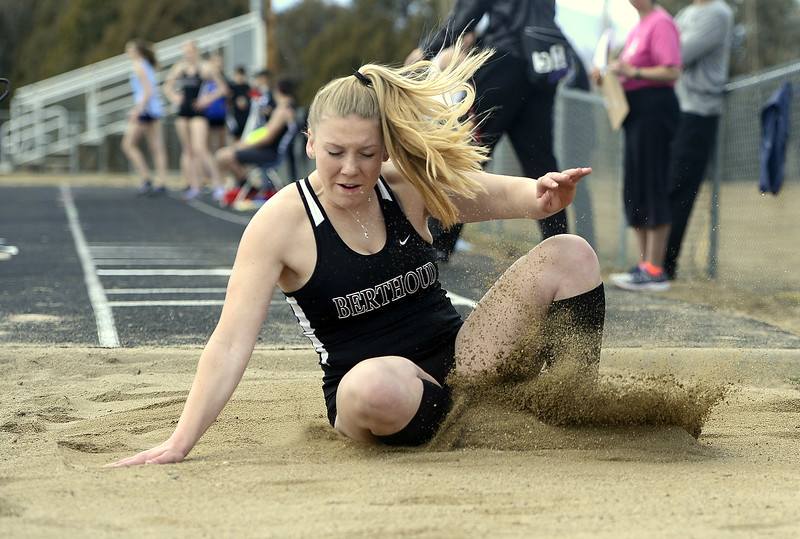 Berthoud's Morgan Kenner comes down at a distance of 30-5.5 in the triple jump Thursday during the Spartan Spike 1 at Marr Field. Kenner placed fifth. (Mike Brohard/Reporter-Herald)