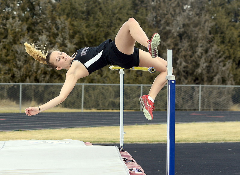 Berthoud's Sophie Visger knocks off the bar trying to clear the 5-0 mark in the high jump at the Spartan Spike 1 at Marr Field. She tied for third place at 4-10. (Mike Brohard/Reporter-Herald)