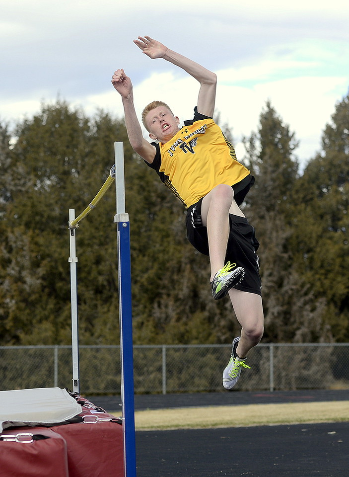 Thompson Valley's Jaromy Morgan takes off during the high jump Thursday at the Spartan Spike 1 meet at Marr Field in Berthoud. He finished fourth at 5-6. (Mike Brohard/Reporter-Herald)