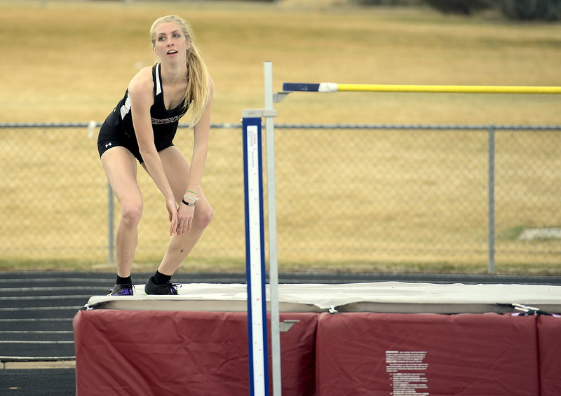 Berthoud's Cailey Archer reacts to clearing 5-2 during the high jump Thursday at the Spartan Spike 1 at Marr Field. It was a first-place effort for the junior. (Mike Brohard/Reporter-Herald)