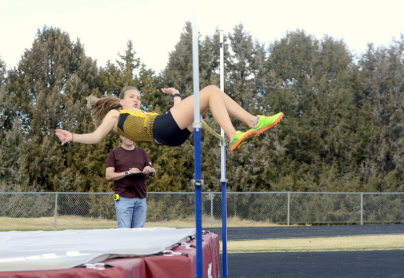 Thompson Valley's Annelise Metzger clears 4-10 in the high jump Thursday at the Spartan Spike 1 at Marr Field, tying for third place at the meet. (Mike Brohard/Reporter-Herald)