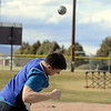 Holden Tatman competes in the shot put finals of the Spartan Spike 1 meet Thursday at Marr Field in Berthoud. He was fourth with a throw of 40-2. (Mike Brohard/Reporter-Herald)