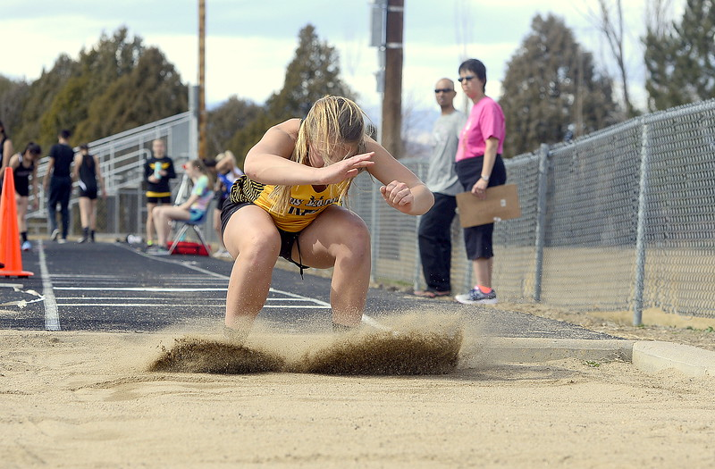 Abbie McCrimmon of Thompson Valley placed third in the triple jump Thursday at 30-7.5 at the Spartan Spike 1 at Marr Field. (Mike Brohard/Reporter-Herald)