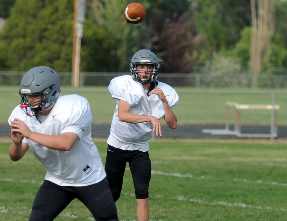 . Berthoud senior Brock Voth throws during a recent practice at BHS.
