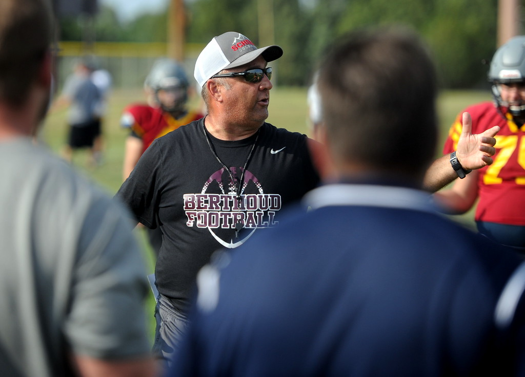 . Berthoud head football coach Troy Diffendaffer talks to his team during a recent practice at BHS.