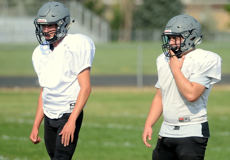 Berthoud seniors Brock Voth, left and AJ Anema line up in the backfield during a recent practice at BHS.