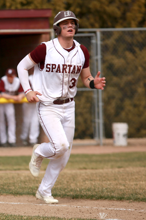 . Berthoud�s Jake Lozinski (38) runs to first base during their game against Windsor on April 6, 2019 in Berthoud Colo. where Windsor beat Berthoud 7-0.