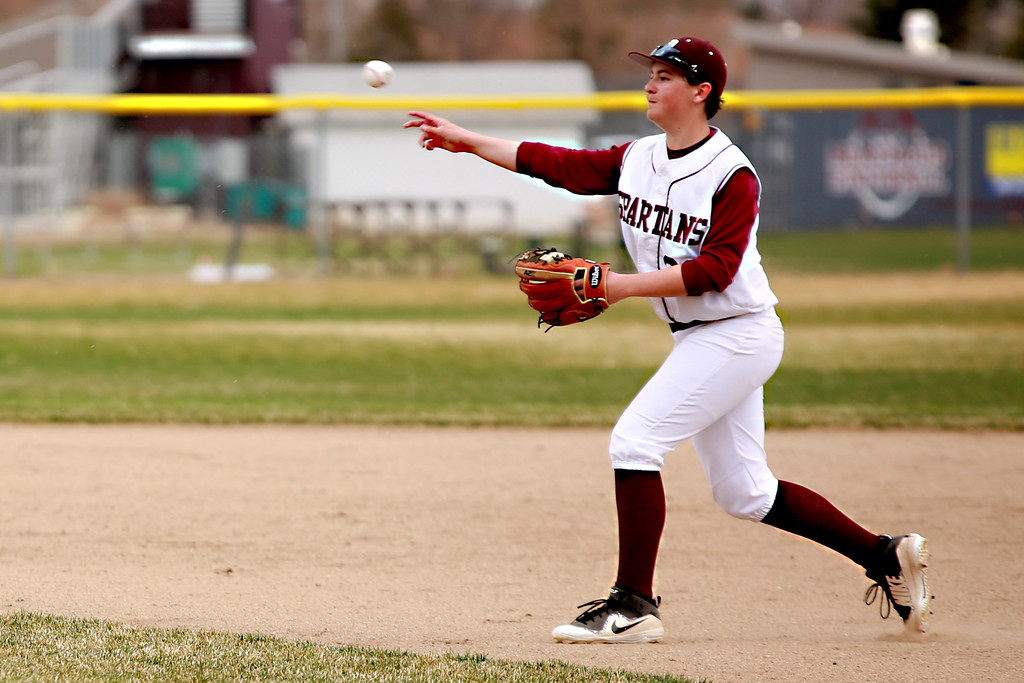 . Berthoud�s (36) Robert Ross throws the ball in the outfield during their match against Windsor on April 6, 2019 in Berthoud Colo. where Windsor beat Berthoud 7-0.
