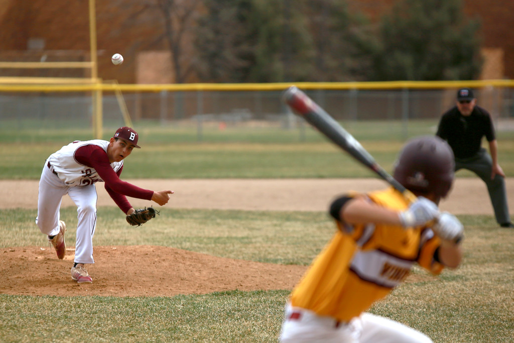 . Berthoud�s Adrian Short pitches the ball on April 6, 2019 in Berthoud Colo. where Windsor beat Berthoud 7-0.