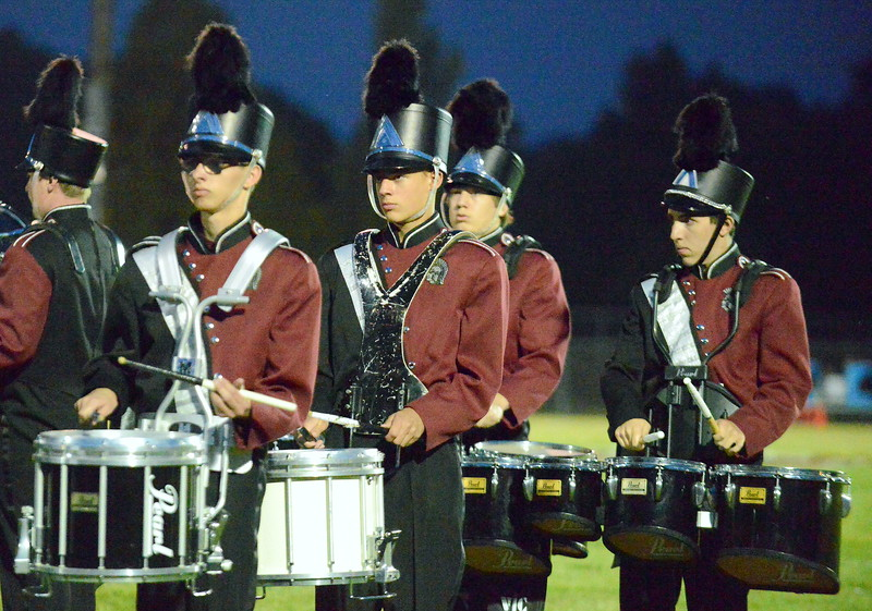 Berthoud's band performs at halftime of Friday's game with Platte Valley at Marr Field. (Mike Brohard/Loveland Reporter-Herald)