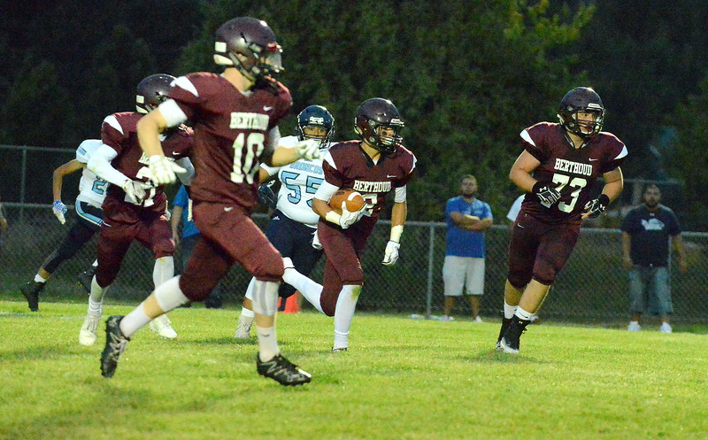 Berthoud's Danny Pelphrey heads upfield with his second-quarter interception against Platte Valley on Friday at Marr Field. (Mike Brohard/Loveland Reporter-Herald)