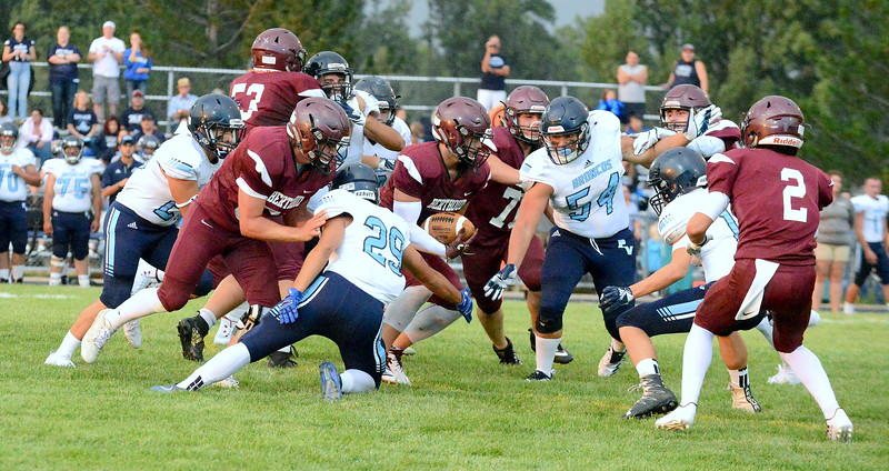 Berthoud back Anthony Trojahn looks for room in the middle of the Platte Valley defense in Friday's game at Marr Field. (Mike Brohard/Loveland Reporter-Herald)