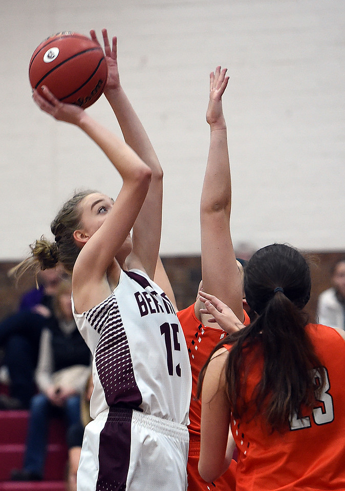 Berthoud's #15 Kyleigh Milan goes up for a shot during their game against Erie High School Tuesday, Jan. 3, 2017, at Berthoud High School. (Photo by Jenny Sparks/Loveland Reporter-Herald)