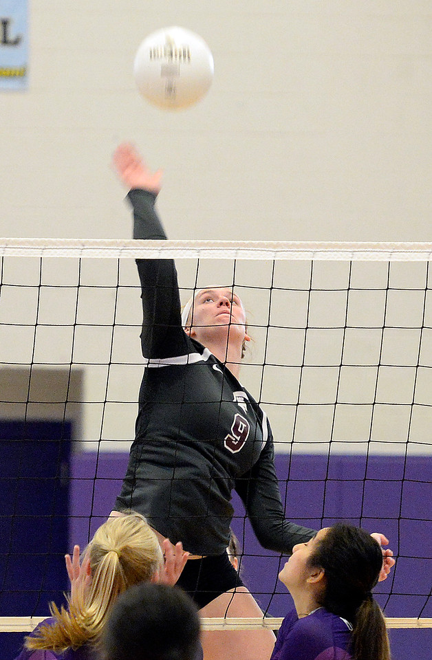 Berthoud's Julie Ward spikes the ball during their game against Mountain View Friday, Nov. 4, 2016, at Mountain View High School in Loveland. (Photo by Jenny Sparks/Loveland Reporter-Herald)