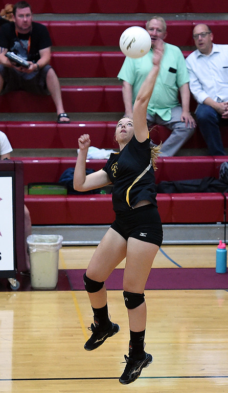 . Thompson Valley\'s (3) Sydney Laws spikes the ball during their game against Berthoud on Monday, Aug. 27, 2018, at Berthoud High School. (Photo by Jenny Sparks/Loveland Reporter-Herald)