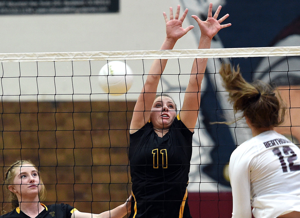 . Thompson Valley\'s (11) Jamie Sharp tries to block during their game against Thompson Valley Monday, Aug. 27, 2018, at Berthoud High School. (Photo by Jenny Sparks/Loveland Reporter-Herald)