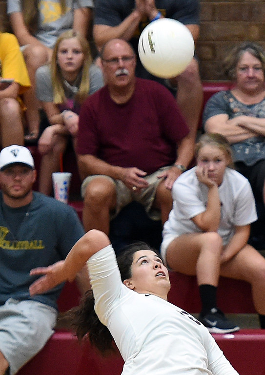 . Berthoud\'s (15) Kailey Berry spikes the ball during their game against Thompson Valley Monday, Aug. 27, 2018, at Berthoud High School. (Photo by Jenny Sparks/Loveland Reporter-Herald)