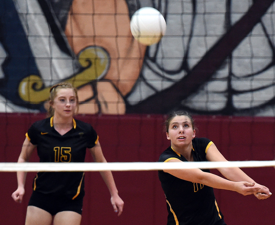 . Thompson Valley\'s (11) Jamie Sharp hits the ball during their game against Thompson Valley Monday, Aug. 27, 2018, at Berthoud High School. (Photo by Jenny Sparks/Loveland Reporter-Herald)