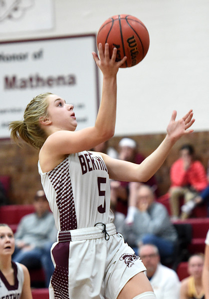 Berthoud's (5) Logan Davidson goes up for a shot during their game against Windsor on Friday, Jan. 19, 2018, at Berthoud High School. (Photo by Jenny Sparks/Loveland Reporter-Herald)