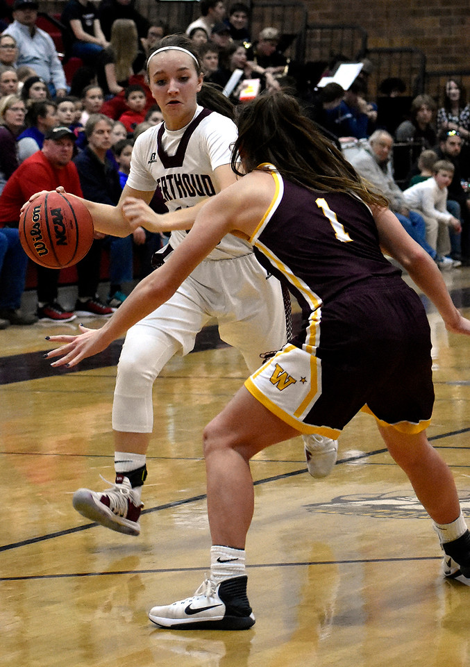 Berthoud's (10) Sydney Meis begins to dribble the ball past Windsor's (1) Chaynee Kingsbury during their game on Friday, Jan. 19, 2018 at Berthoud High School in Berthoud. Photo by Thieng Mai.