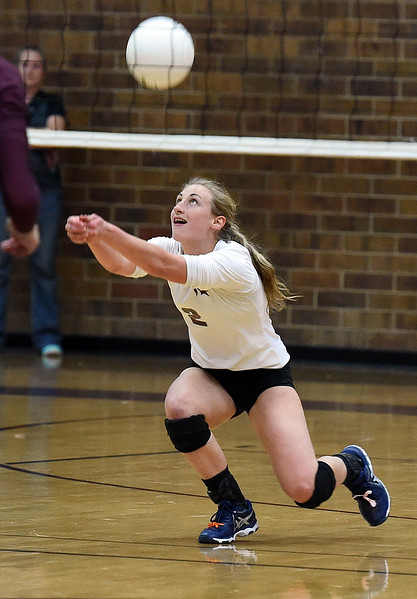 Berthoud's (2) Trinity Penny hits the ball the ball during their game against Windsor on Tuesday, Oct. 24, 2017, at Berthoud High School in Berthoud.  (Photo by Jenny Sparks/Loveland Reporter-Herald)